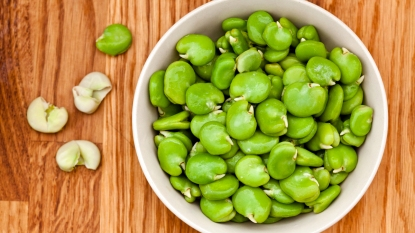 Bowl of bright green fava beans