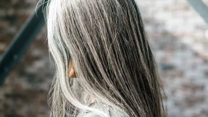Woman's long gray hair