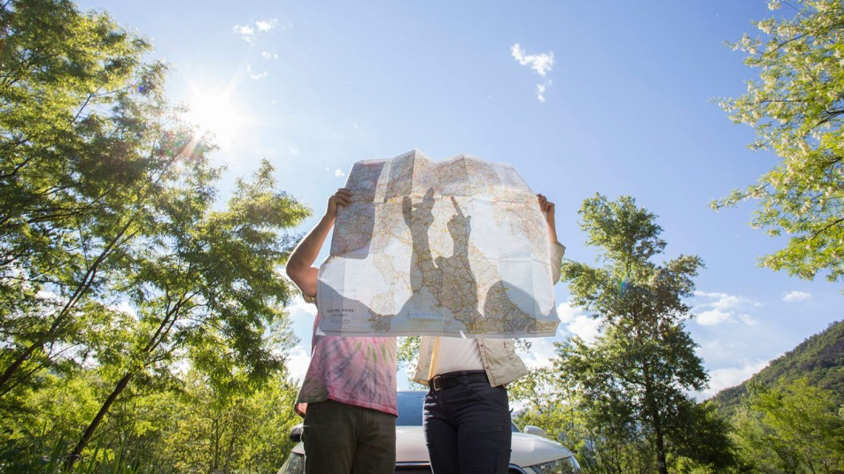 Couple examine road map near car, in forest