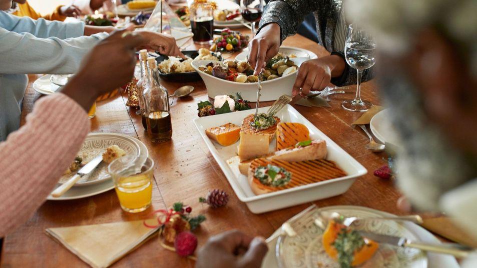 family enjoying a feast