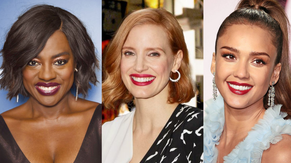 Viola Davis, Jessica Chastain, Jessica Alba wearing berry lip colors