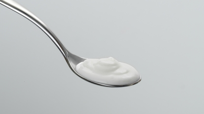 Plain yogurt on a spoon