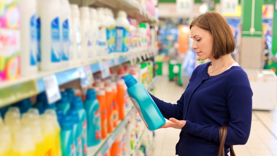 Woman shopping for laundry detergent