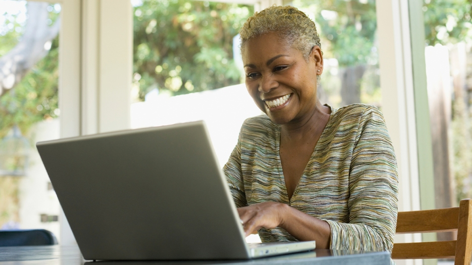 Woman taking online survey
