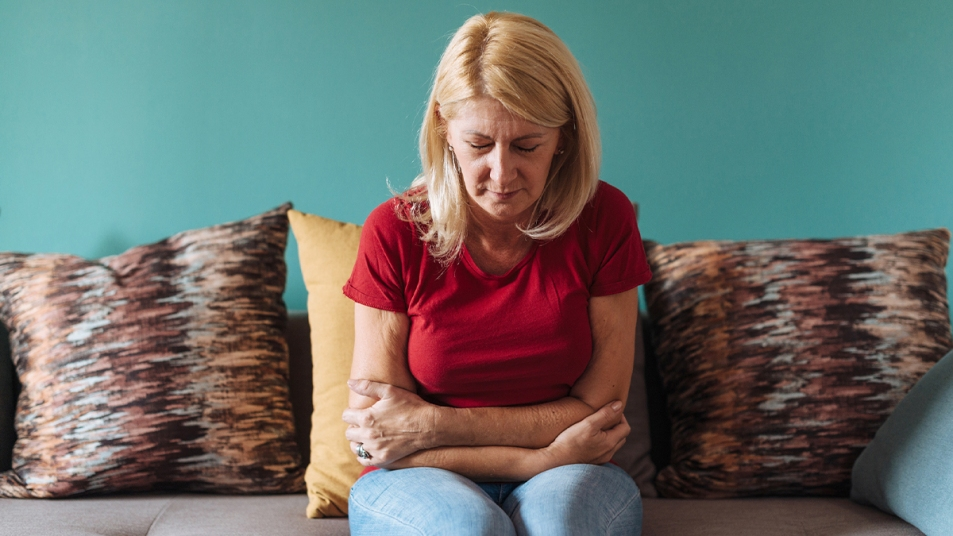 Woman with stomach pain