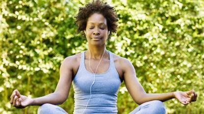 Woman taking a deep breath