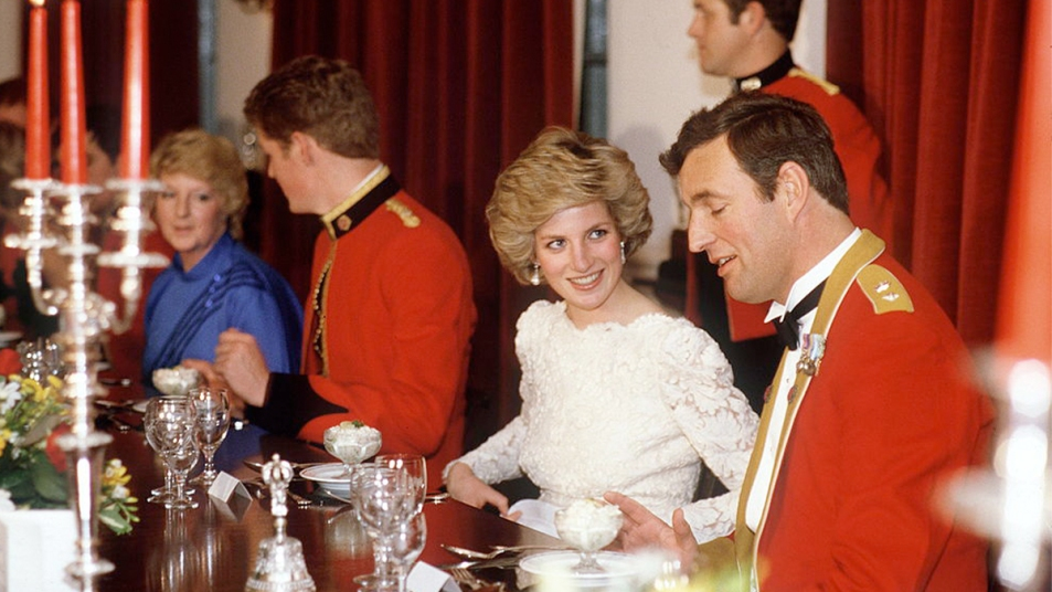 Princess Diana preparing to have a meal