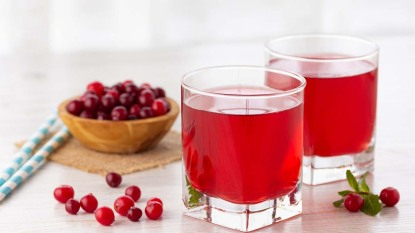 Two glasses of cranberry juice